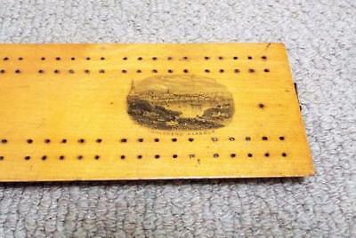 Mauchline Ware Cribbage Board Antique c1870 Holyhead Harbour 2