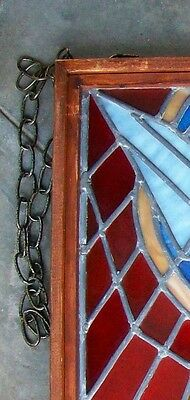 Vintage Church Stained Glass Window Salvage Bird Leaded HOLY SPIRIT DOVE Peace 12