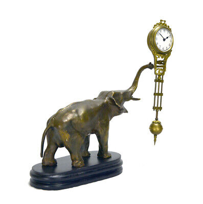 German Style Junghans Brass Elephant Figure 8 Day Swinging Swinger Clock 5
