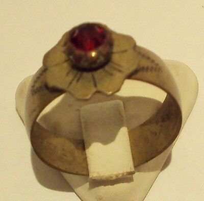 VINTAGE NICE BRONZE RING WITH RED STONE FROM THE EARLY 20th CENTURY # 909 2