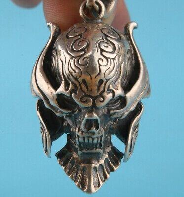 China 925 Silver Pendant Statue Skull Exorcism Decoration Fashion Craft Gift 8