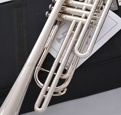 Professional Silver nickel Bb Bass Trumpet 3 Piston Vavles JINBAO Horn With Case 8