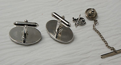 Shriner Cufflinks and Tie Tack Set Silver Colored Backs Cream and Red Enamel