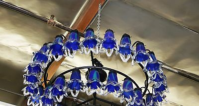 Art Deco Style 4 Level Wrought  Iron Chandelier & 54 Flowing Blown Glass Shades 3
