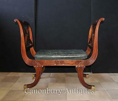 Pair Regency Stools Seats in Mahogany Day Chair 9