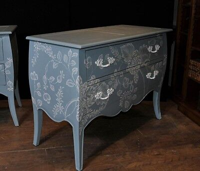 Pair French Painted Commodes Chest Drawers Shabby Farmhouse 6