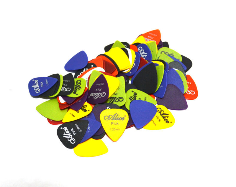 100x ALICE Guitar Picks Bulk Coloured Celluloid Plectrums Standard Mixed Gauges 6