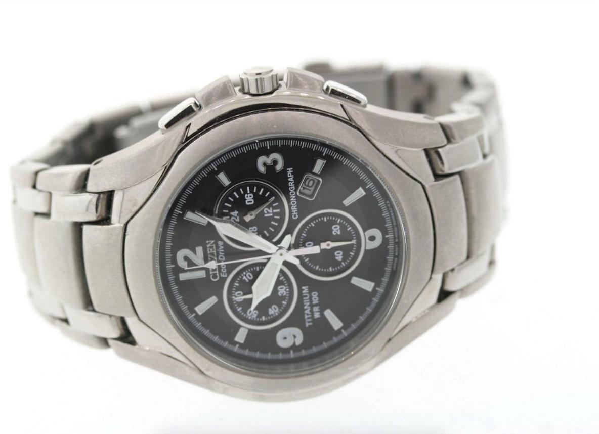 740dcdd33 Men's Citizen AT0940-50E Eco-Drive Titanium Black Dial Chronograph Date  Watch 4 4 of 5 ...