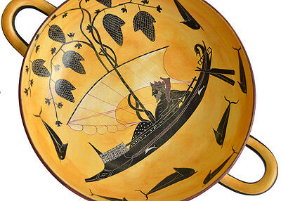 Black figure Kylix With Dionysus crossing the sea- Exekias-Munich Museum Replica
