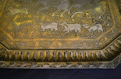 Superb Antique Signed Brass And Silver  Persian Tray Hunting Scene 6