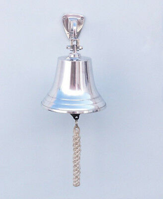 """Chrome Plated Solid Aluminum Ship's Bell 5.5"""" Nautical Hanging Wall Decor New 2"""