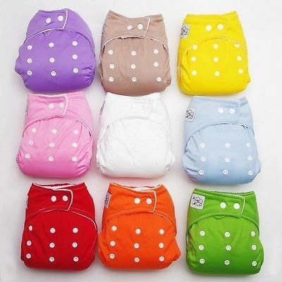 1 PCS Adjustable Reusable Lot Baby Kids Boy Girls Washable Cloth Diaper Nappies 2
