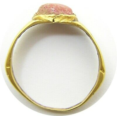 3rd century AD Ancient Roman gold finger ring Henig type VIII coral glass gem 6