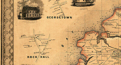 Map of Kent County Maryland c1860 repro 24x24 3