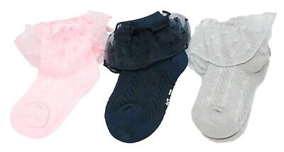 Baby Girls Lace Frilly Pink Summer Ankle Socks 6-12 Months Age 1 2 3 4 5 6 7 8 5