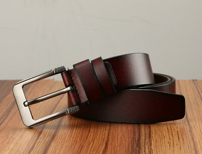 Men's Greek Key Metal Buckle Handcrafted Needlepoint Genuine Leather Jean Belt 6