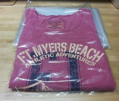 """10-2000  12 x 15/"""" Poly Clear Plastic T-Shirt Apparel Bags 1 Mil 2/"""" Back Flap"""