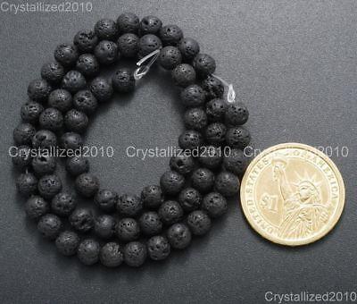 "Natural Black Volcanic Lava Gemstone Round Beads 4mm 6mm 8mm 10mm 12mm 15.5"" 4"