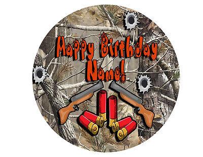 2 Of 3 Camouflage Hunting Happy BIrthday Cake Topper Edible Sugar Kid Gun Paper Sheet