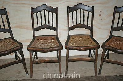 ... 4 Antique Cane Seat Spindle Back Chairs Paint Accents 1800s - 4 ANTIQUE CANE Seat Spindle Back Chairs Paint Accents 1800s
