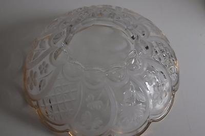 A Lovely Gilt Rimmed Glass Bowl With Etched Flowers And Leaves. 7