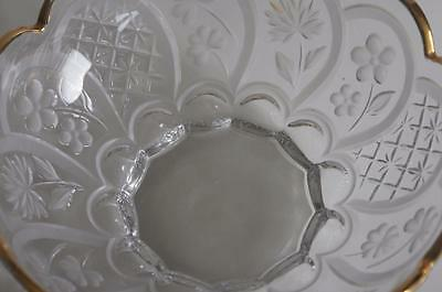A Lovely Gilt Rimmed Glass Bowl With Etched Flowers And Leaves. 3