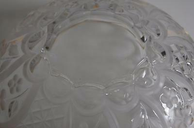 A Lovely Gilt Rimmed Glass Bowl With Etched Flowers And Leaves. 8