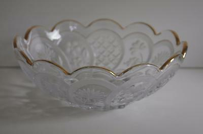 A Lovely Gilt Rimmed Glass Bowl With Etched Flowers And Leaves. 2