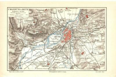Antique map. FRANCE. CITY MAP OF METZ & SURROUNDINGS OF METZ. 1905 2