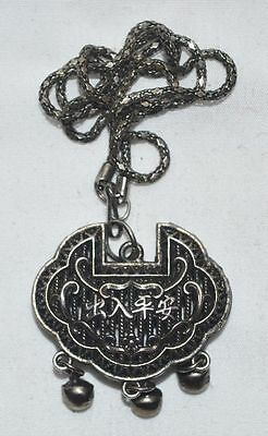 China Folk Traditional Jewely Silvering Copper Lock Statue Amulet Pendant Gift 2 3