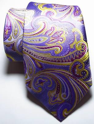 New Classic Paisley Purple Gold Red JACQUARD WOVEN 100% Silk Men's Tie Necktie 2