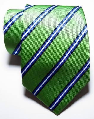 New Classic Striped Green Black Blue White JACQUARD WOVEN Silk Men's Tie Necktie