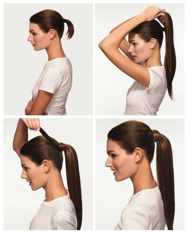 Amazing Long Soft Dip Dye Ombre Wrap Around Ponytail Clip In Hair