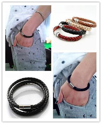 Homme Femmes Tressé Cuir Acier Magnétique Cool De Fermoir Bracelet Cadeau 3