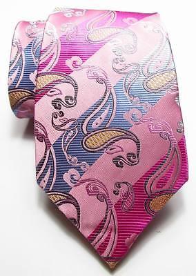 New Classic Striped Paisley Pink Blue JACQUARD WOVEN Silk Men's Tie Necktie 2