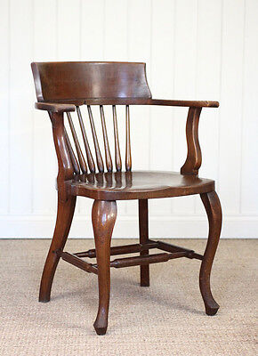 Vintage Antique Oak Office Captains Chair 1900s 2