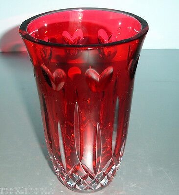 Waterford I Love Lismore Vase Ruby Red Crystal 8 Hearts 156209 New