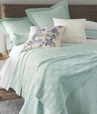 ... Sferra HANNAH King Coverlet U0026 Shams Aqua 3 PC Set Textured Cotton  Matelasse New