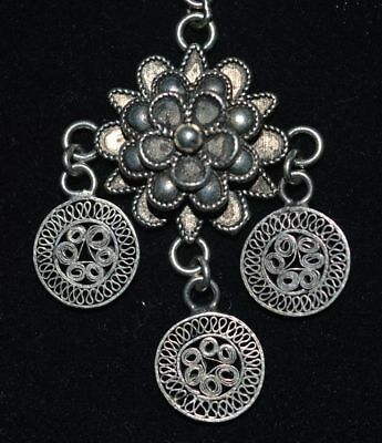 Republic Of China Old Silvering Copper Jewelry Handicraft Filigree Earbob Pair 4