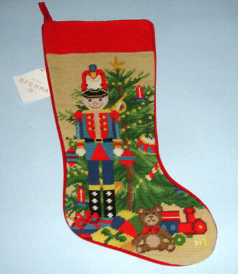 Needlepoint Christmas Stockings.Sferra Nutcracker Toy Soldier Needlepoint Christmas Stocking Handmade New