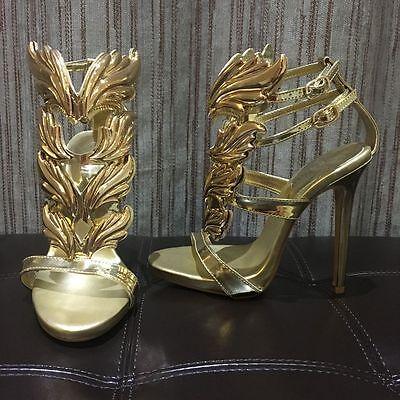 gladiator 13 cm Sexy Gold Gelb peeptoes fetish sky sandals high heels 43 42 us11 6