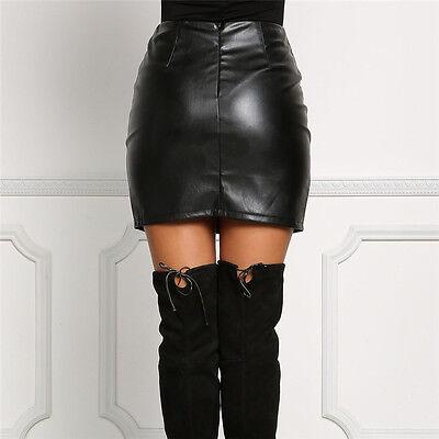 UK New Women Black PU Leather Pencil Bodycon High Waist Mini Short Skirt Stretch