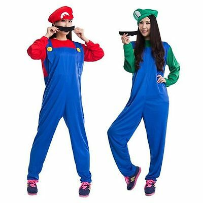Men Adult Kids Women's Super Mario and Luigi Fancy Dress Cosplay Costume Outfit. 11