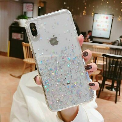 Bling Glitter Case For iPhone 7 Plus 8 XR XS Max Clear Gel Soft Phone Case Cover 2