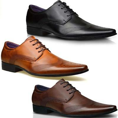 Mens Faux Leather Shoes New Italian Smart Formal Wedding Office Party Shoes Size 8