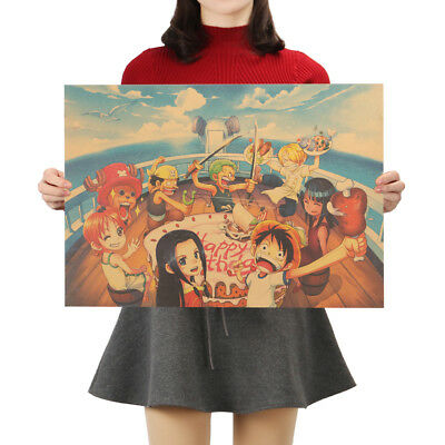 Classic Anime One Piece Series Posters Kraft Paper Cafe Decorative Wall Painting 5