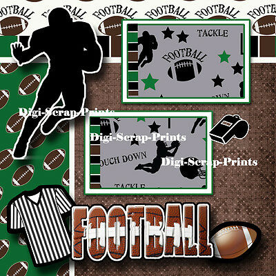 football boy sports 2 premade scrapbook pages paper piecing layout