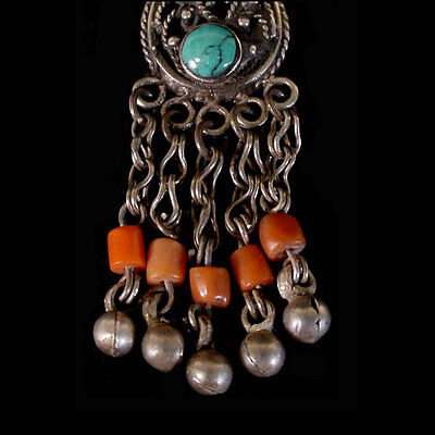 Pair of Pashtun silver tribal earrings with turquoise and coral beads. x6002 3