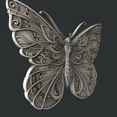 3d STL models for CNC, Artcam, Aspire, relief butterfly 2