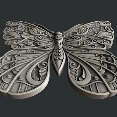 3d STL models for CNC, Artcam, Aspire, relief butterfly 4